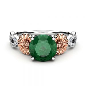 Two Tone Gold Emerald Ring / Sunflower Ring for Women, Unique Flower Ring / Emerald Engagement Ring