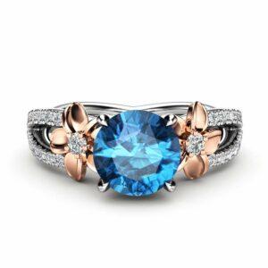 14k White Gold Blue Diamond Engagement Ring for Women / Unique Engagement Ring / Alternative Gold Flower Ring / Floral Blue Diamond Ring