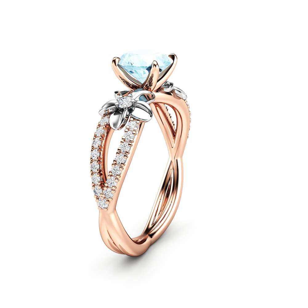 Rose Gold Aquamarine Vintage Engagement Ring for Women / Unique Flower Engagement Ring / Alternative Ring / Floral Gemstone Engagement Ring