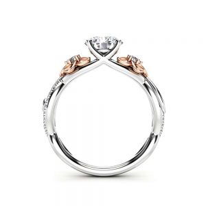 Floral White Gold Moissanite and Diamond Engagement Ring for Women, Unique moissanite Engagement Ring, Moissanite Ring, Flower Ring
