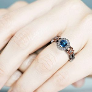 14k White Gold Blue Diamond Engagement Ring / Unique Flower Engagement Ring / Floral Halo Engagement Ring