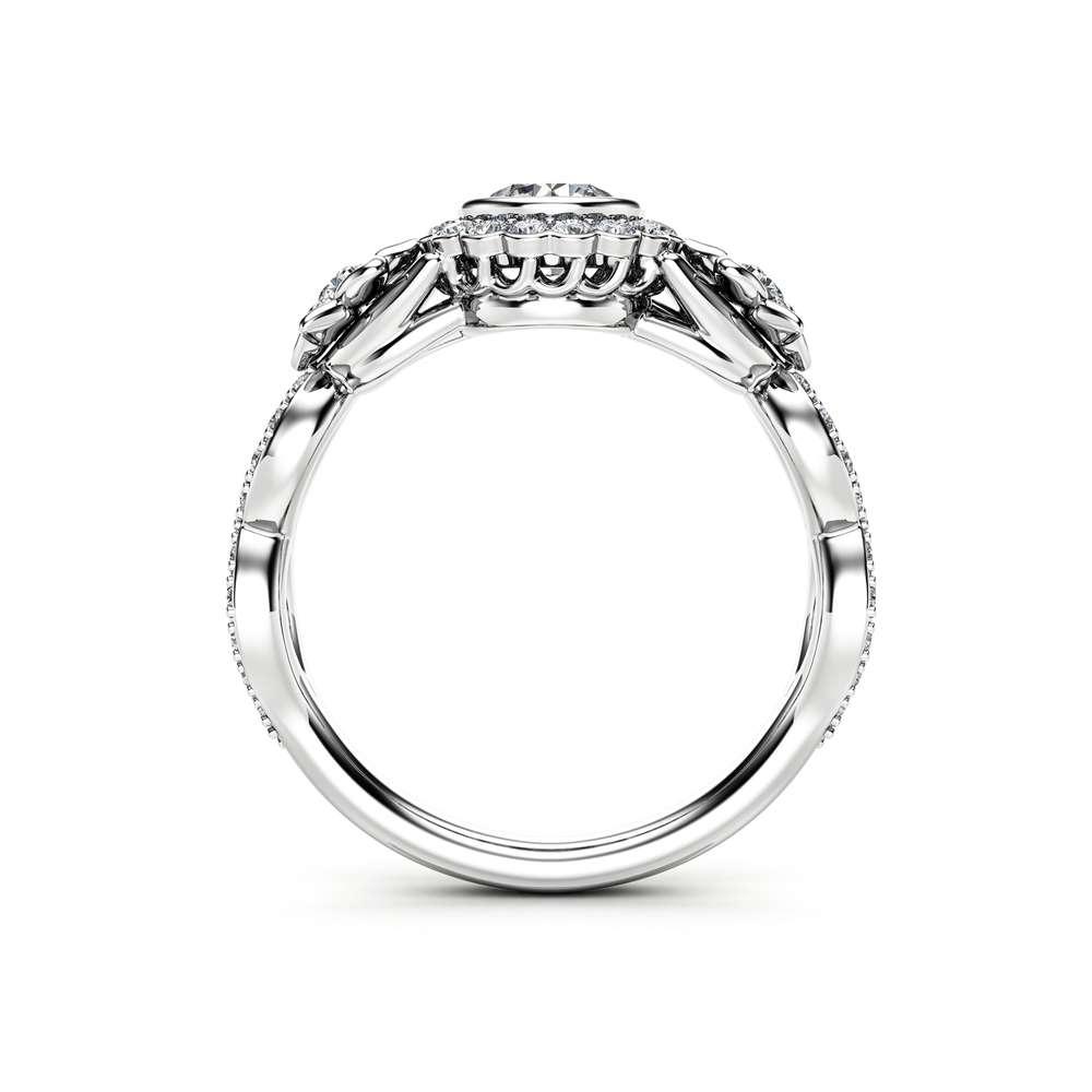 Natural Diamond Vintage Halo Engagement Ring / 14K White Gold April Birthstone Ring / Unique Flower Ring / Floral Diamond Engagement Ring
