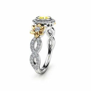 Yellow Diamond 14K Gold Vintage Halo Engagement Ring / Flower Ring / Diamond Engagement Ring / Floral Twisted Ring / Unique Engagement Ring
