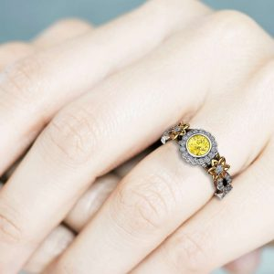 Yellow Diamond 14K Gold Vintage Halo Engagement Ring / Flower Ring / Diamond Engagement Ring / Floral Twisted Ring / Unique Engagement Ring