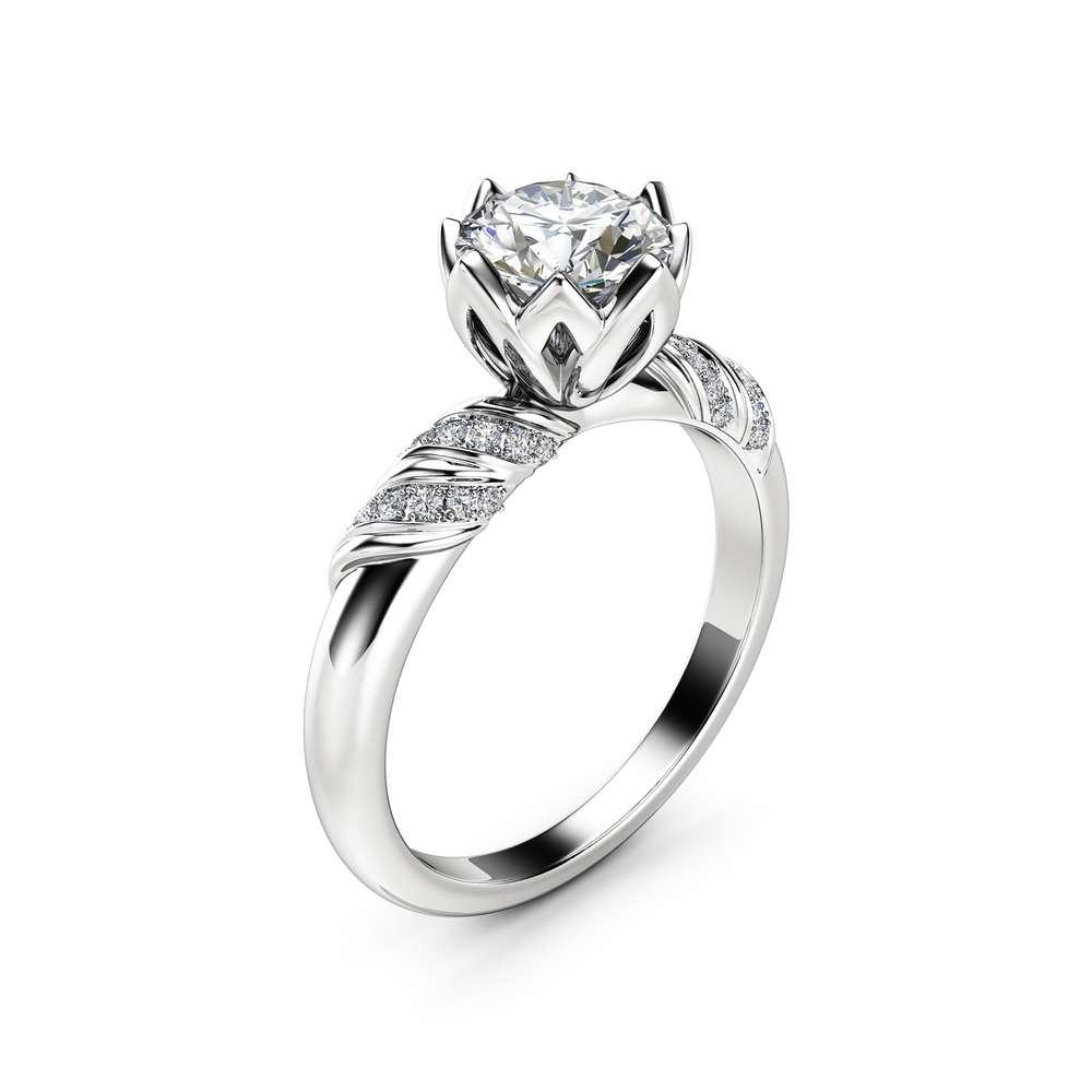 Petal Moissanite Engagement Ring 14K White Gold Ring Unique Engagement Ring Natural Side Diamonds Engagement Ring