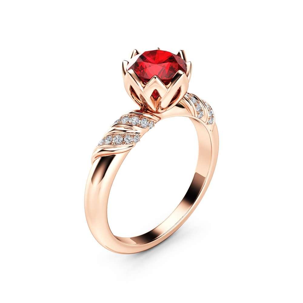 Natural Ruby Petal Engagement Ring 14K Rose Gold Ring Unique Flower Engagement Ring
