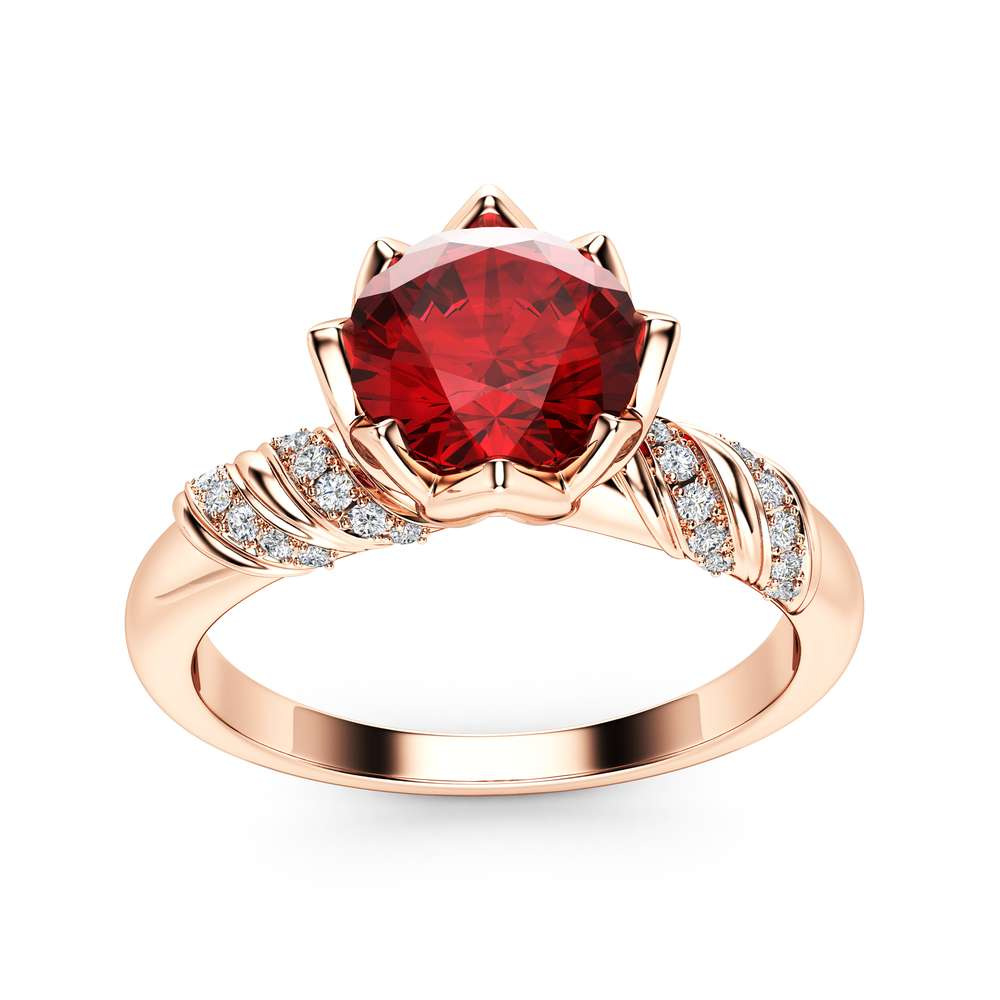 Natural Ruby Petal Engagement Ring 14K Rose Gold Ring Unique Flower Engagement Ring