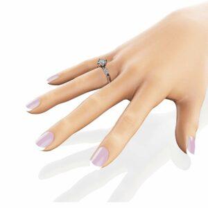 Princess Cut Moissanite Engagement Ring 14K White Gold Petal Ring Unique Square Cut Engagement Ring