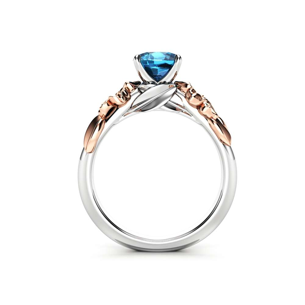 Floral Blue Diamond Engagement Ring for Women in 14k White Gold / Unique Engagement Ring / Gold Flower Engagement Ring / Blue Diamond Ring