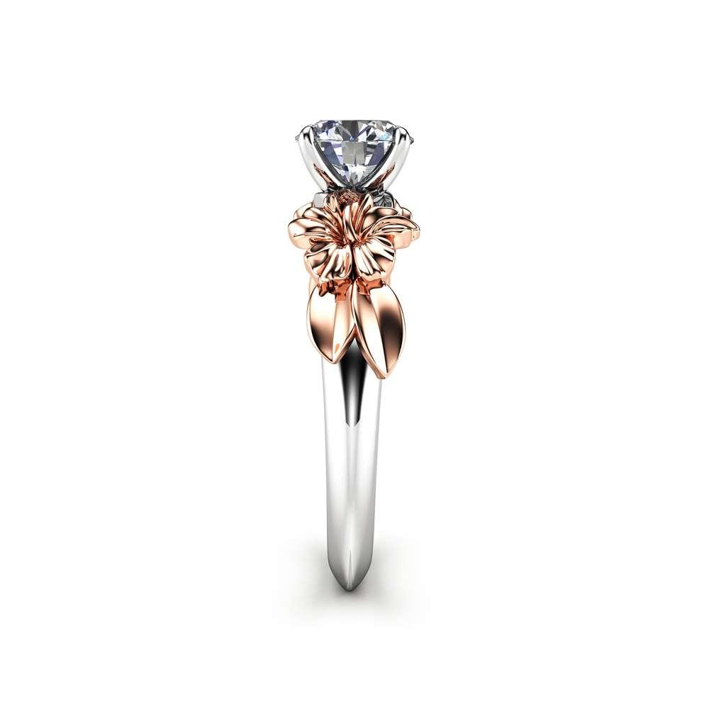 Unique Floral Moissanite Engagement Ring for Women / Flower Ring / White Gold Moissanite Ring / Solitaire Unique Engagement Ring
