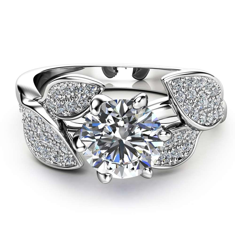 Nature Inspired Moissanite Engagement Ring Wedding Engagement Ring 14K White Gold Moissanite Ring