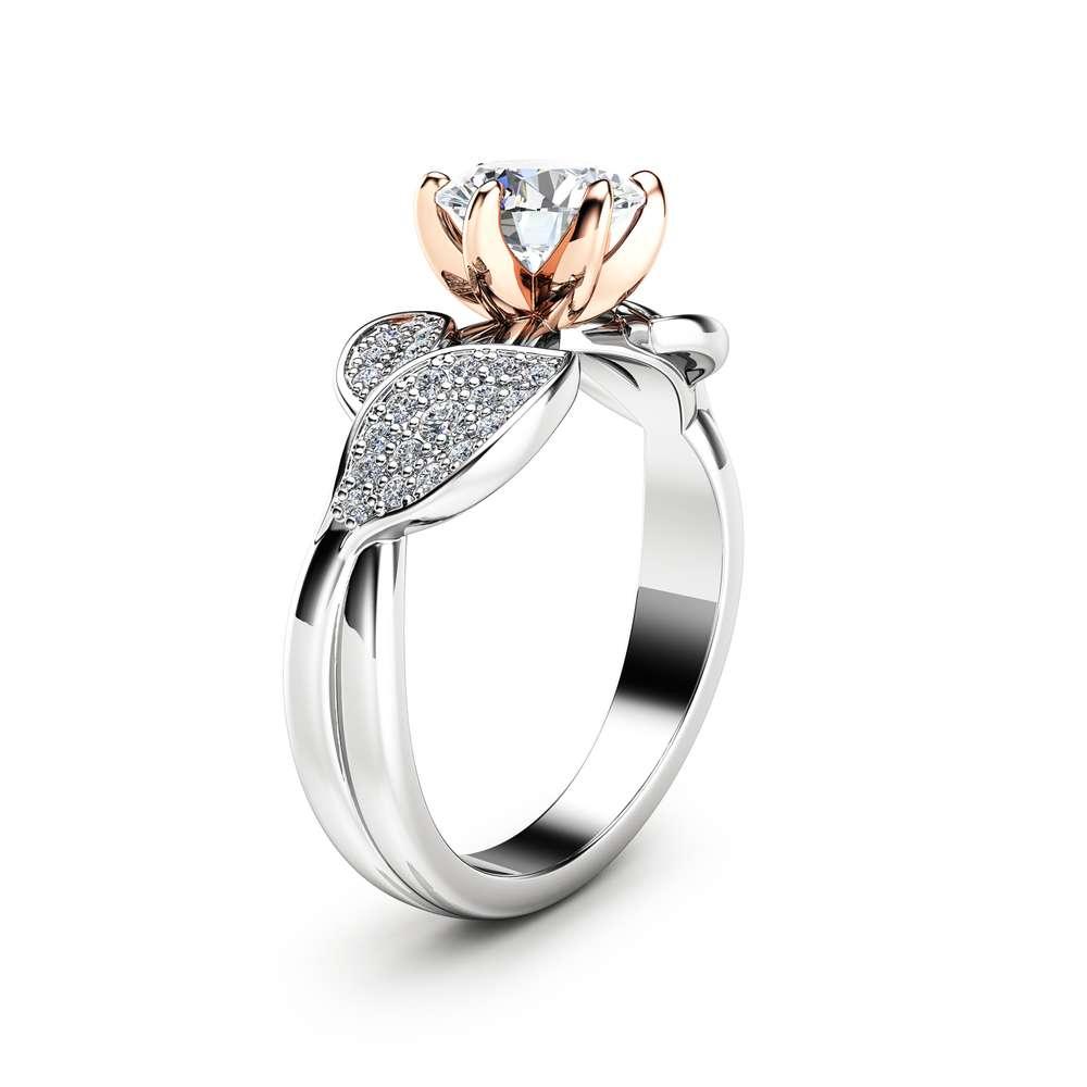 Nature Inspired Moissanite Engagement Ring Wedding Engagement Ring 14K Two Tone Gold Moissanite Ring