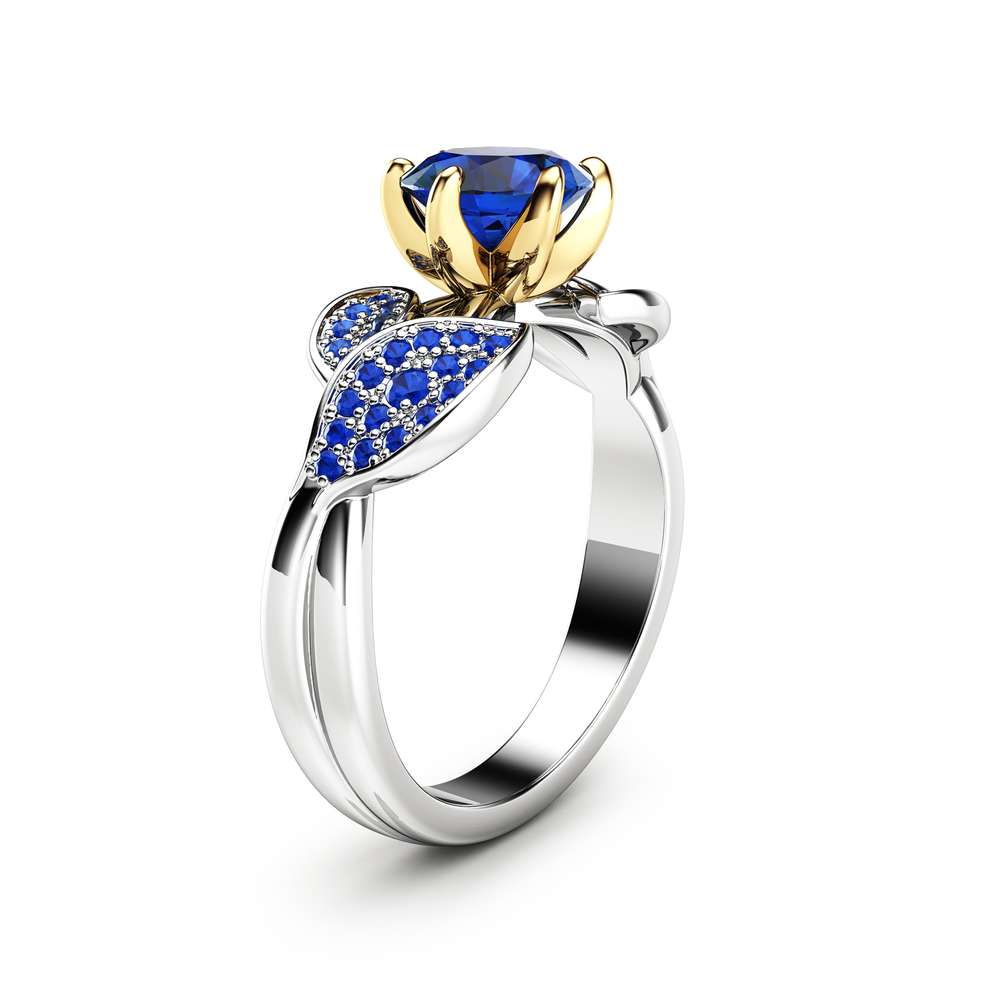 Nature Inspired Sapphire Engagement Ring Wedding Engagement Ring 14K Two Tone Gold Sapphire Ring