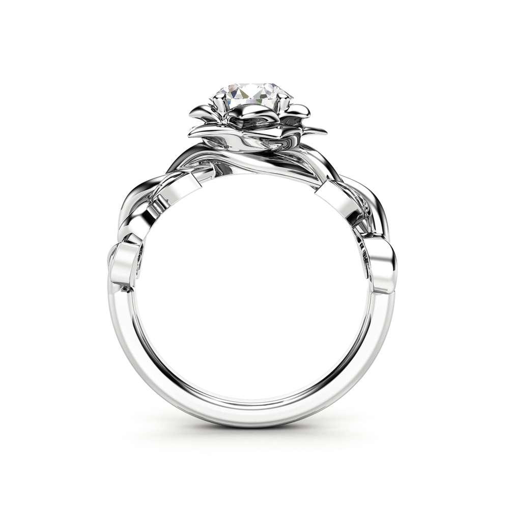 Moissanite Engagement Ring 14K White Gold Ring Engagement Ring Forever One Moissanite Ring