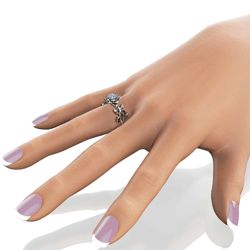 Diamond Engagement Ring White Gold Ring Solitaire Diamond Ring Leaf Engagement Ring
