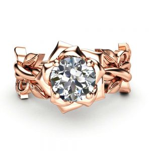 Moissanite Engagement Ring Rose Gold Ring Leaf Engagement Ring Forever One Moissanite Ring