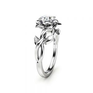 Diamond Engagement Ring Unique Engagement Ring White Gold Ring Solitaire Diamond Ring