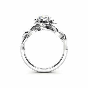 Moissanite Engagement Ring White Gold Ring Leaf Engagement Ring Forever One Moissanite Ring