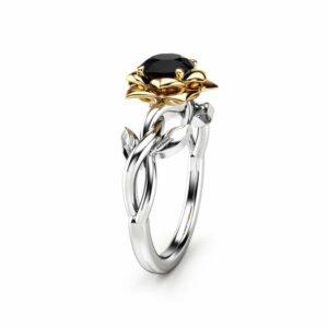 Black Diamond Engagement Ring White Gold Ring Leaf Wedding Ring Unique Engagement Ring
