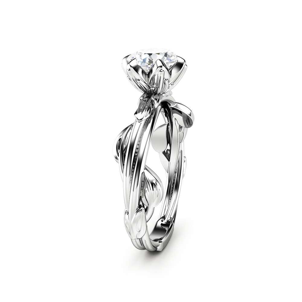 Moissanite Engagement Ring White Gold Ring Unique Moissanite Ring Leaf Engagement Ring