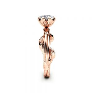 Diamond Engagement Ring Leaf Engagement Ring Rose Gold Ring Solitaire Diamond Ring