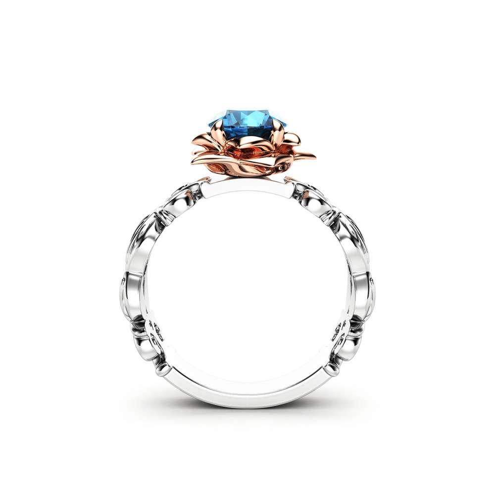 Blue Diamond Engagement Ring Rose Engagement Ring White Gold Ring Blue Diamond Ring