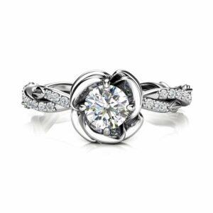 Unique Engagement Ring Moissanite Engagement Ring White Gold Ring Leaf Engagement Ring