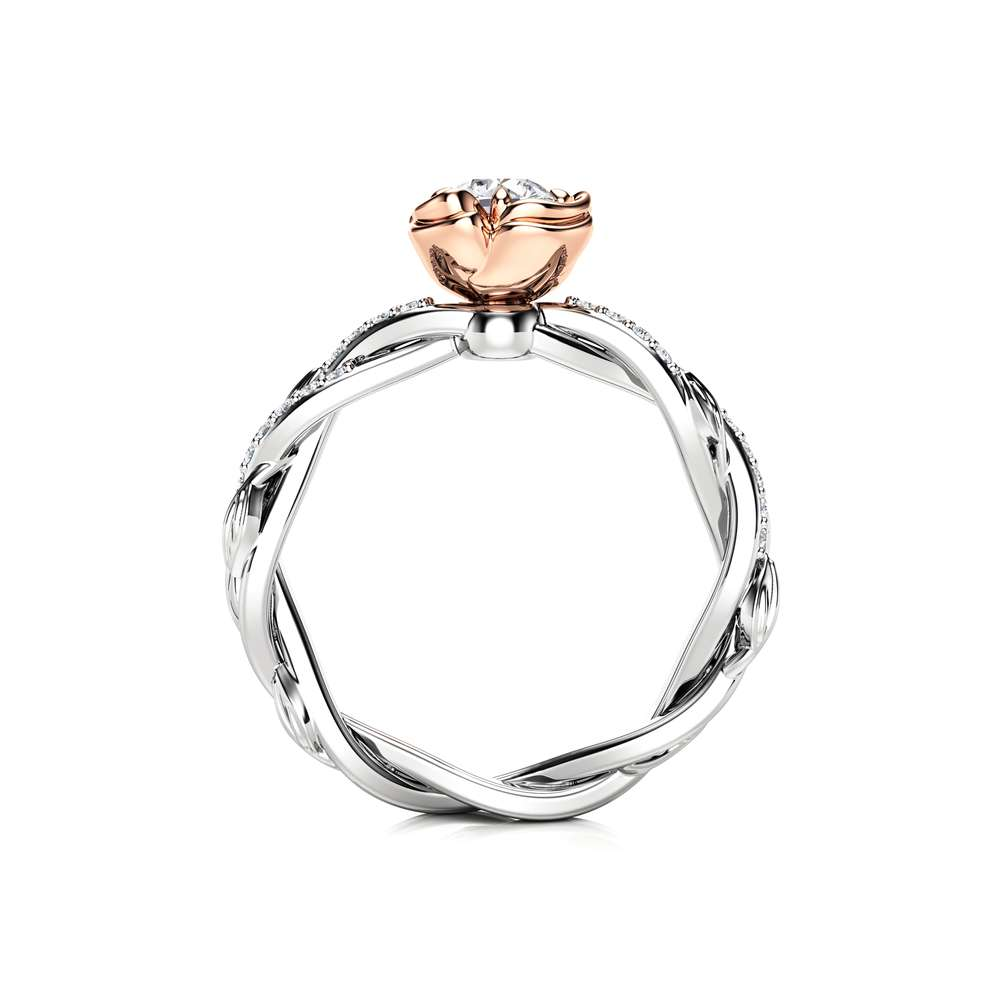 Unique Engagement Ring Forever One Moissanite Ring 14K 2 Tone Gold Twist Engagement Ring