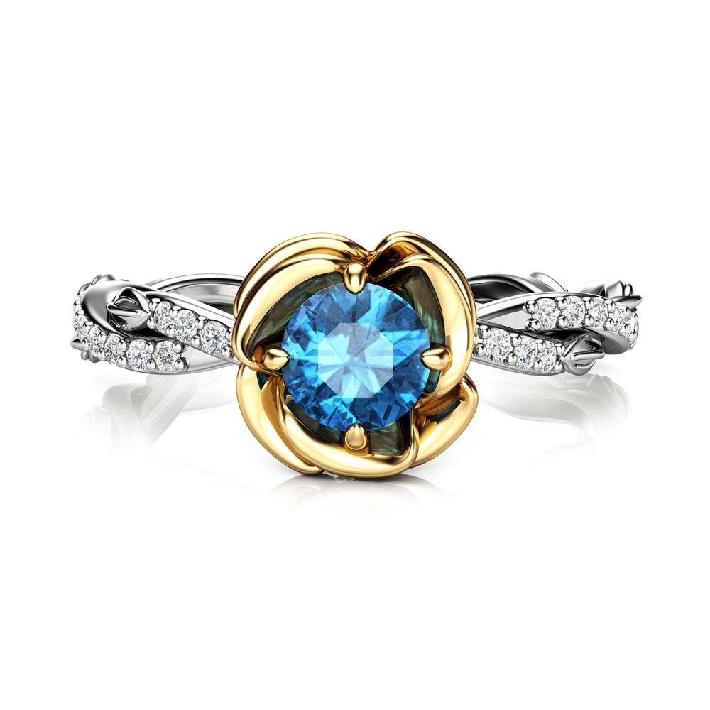 Blue Diamond Engagement Ring 14K 2 Tone Gold Flower Ring Unique Twist Engagement Ring