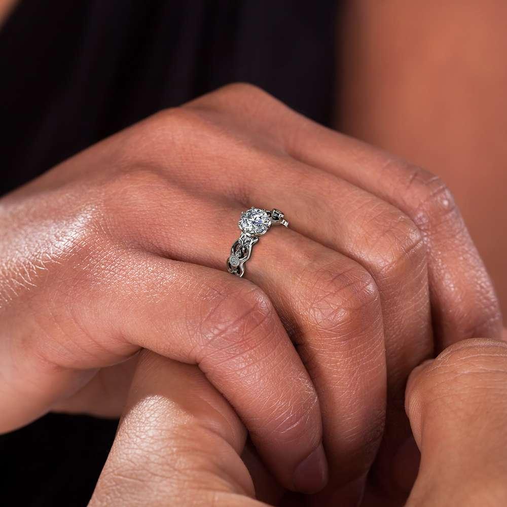 Moissanite Engagement Ring 14K White Gold Ring Art Deco Engagement Ring