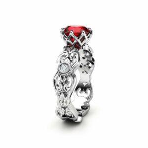Unique Moissanite Engagement Ring 14K White Gold Ring Art Deco Engagement Ring