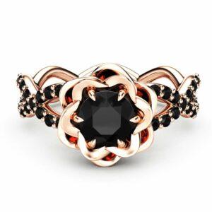 Black Diamond Engagement Ring Unique Flower Engagement Ring 14K Rose Gold Ring