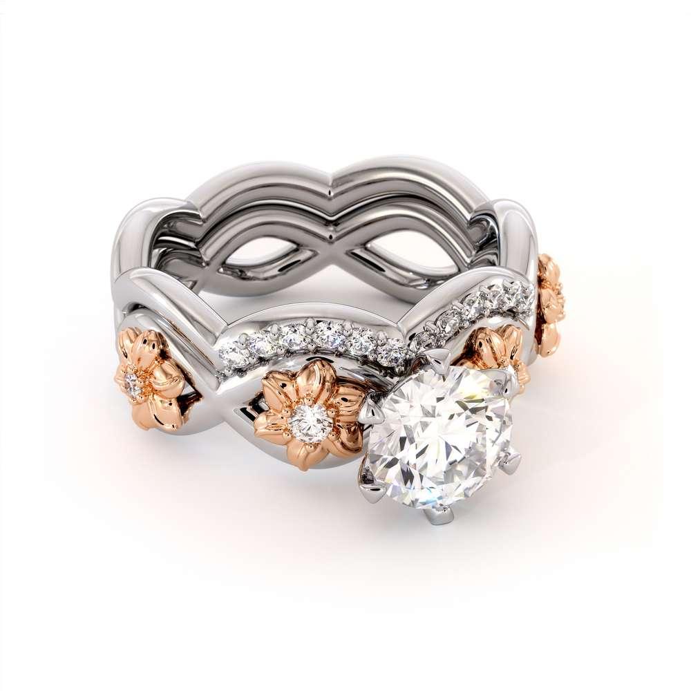 Moissanite Engagement Ring Set 14K Two Tone Gold Ring Flower Engagement Ring