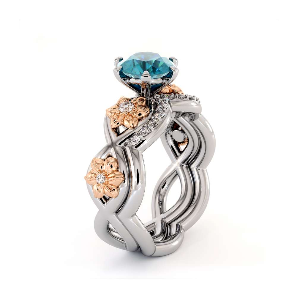 Blue Diamond Engagement Ring Set 14K White & Rose Gold Ring Flower Engagement Ring