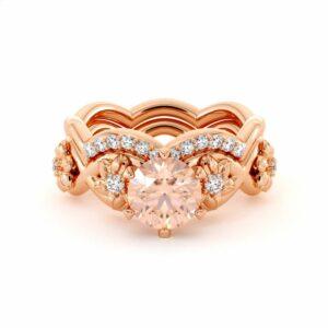 Morganite Engagement Ring Set 14K Rose Gold Ring Flower Engagement Ring