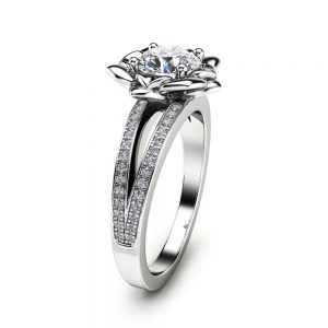 Moissanite Flower Engagement Ring 14K White Gold Flower Engagement Ring Forever One Moissanite Diamo