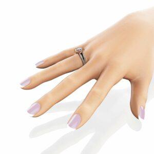 Moissanite Petal Engagement Ring 14K Two Tone Gold Flower Engagement Ring Forever One Moissanite Dia