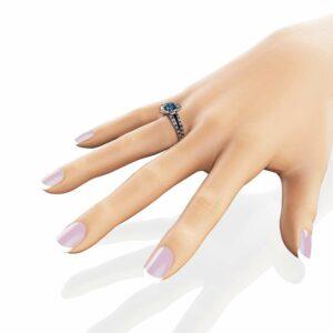Topaz Flower Engagement Ring 14K White Gold Flower Engagement Ring Topaz Ring with Sapphires & Diamonds