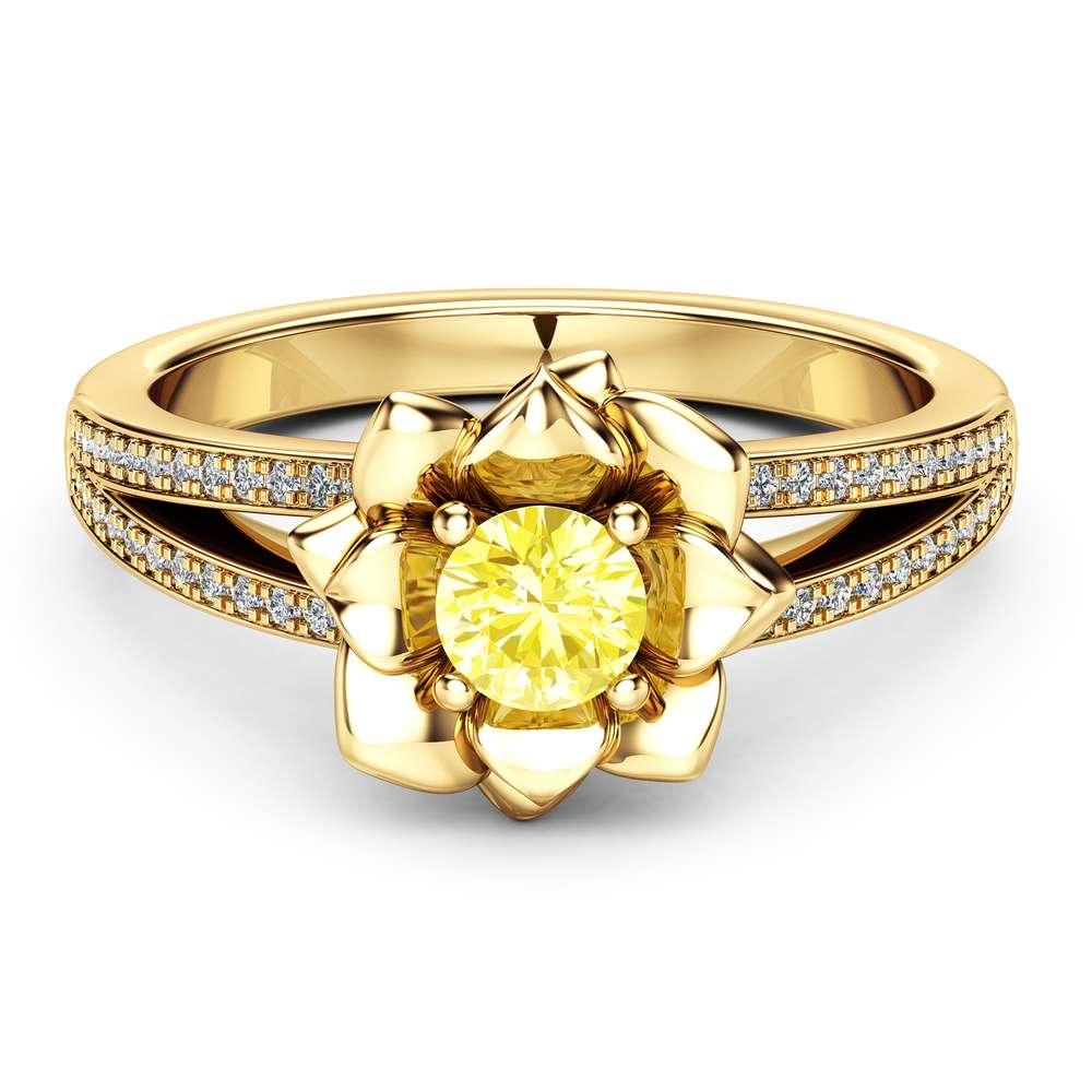 Yellow Diamond Engagement Ring 14K Yellow Gold Diamond Ring Flower Engagement Ring Choose Your 0.5CT Diamond