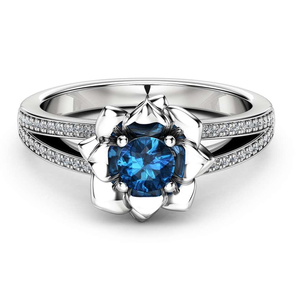 Blue  Diamond Engagement Ring 14K White Gold Diamond Ring Flower Engagement Ring Choose Your 0.5CT Diamond