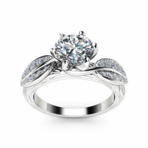 Nature Inspired Moissanite Engagement Ring 14K White Gold Engagement Ring Branch and Leaf Moissanite Ring