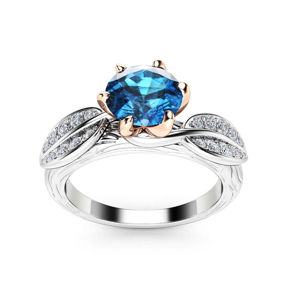 Nature Inspired Topaz Engagement Ring 14K Two Tone Gold Engagement Ring Branch and Leaf Topaz Ring
