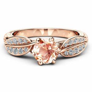 Nature Inspired Morganite Engagement Ring 14K Rose Gold Engagement Ring Branch and Leaf Morganite Ring