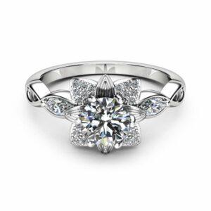 Moissanite Flower Engagement Ring 14K White Gold Flower Ring Engagement Ring with Marquise Diamonds