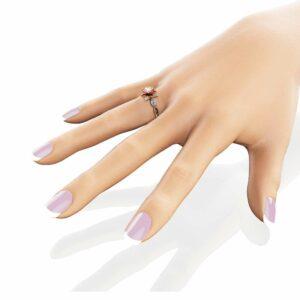 Morganite Flower Engagement Ring 14K Two Tone Gold Flower Ring Engagement Ring with Marquise Diamonds