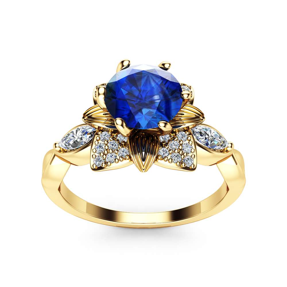 Blue Sapphire Engagement Ring 14K Yellow Gold Flower Ring with Marquise Diamonds