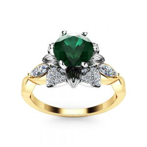 Unique Emerald Engagement Ring 14K White Yellow Gold Flower Ring Unique Halo Ring Marquise Diamonds Engagement Ring