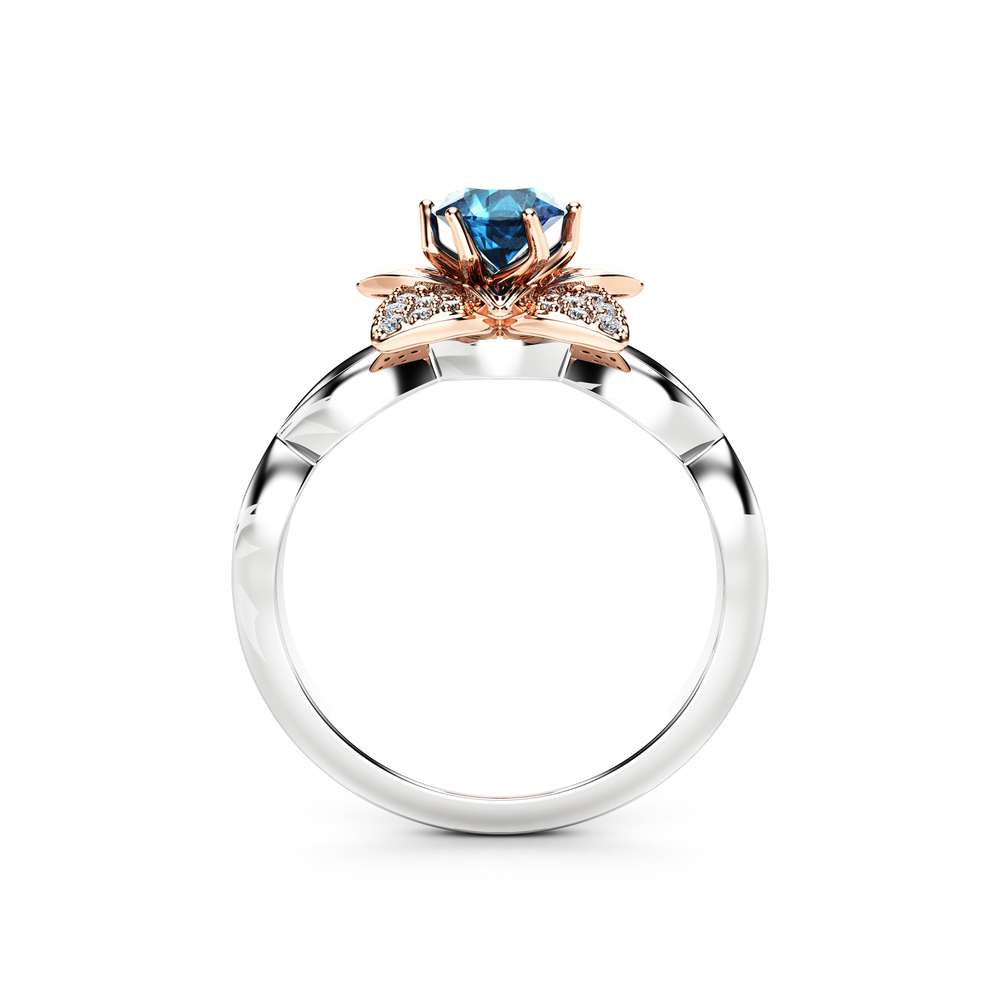 Natural Blue Topaz Engagement Ring 14K Two Tone Gold Ring Unique 0.5 Ct Topaz Engagement Ring White Rose Gold Ring