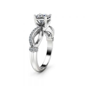 Cushion Moissanite Engagement Ring Twig Moissanite Ring in White Gold Branch Engagement Ring Anniversary