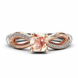 Cushion Morganite Engagement Ring Twig Morganite Ring in Two Tone Gold Branch Engagement Ring Anniversary